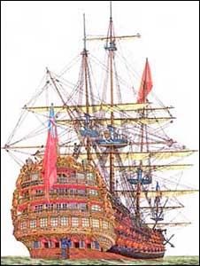 An artist's impression of how HMS Victory may have looked like
