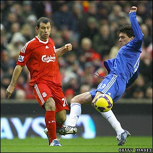 Javier Mascherano is challenged by Chelsea's Michael Ballack