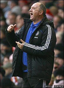 Blues manager Luiz Felipe Scolari offers encouragement to his team
