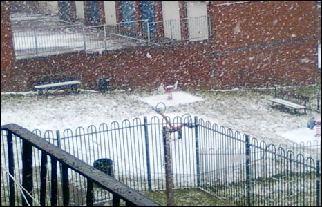 Snow falling in playground (Pic: Richard Laker)