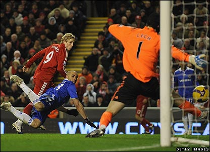 Fernando Torres heads home the opener for Liverpool