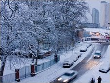 Surrey Quays under snow