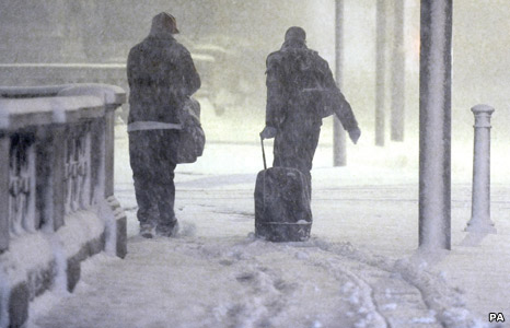 Travellers in the snow