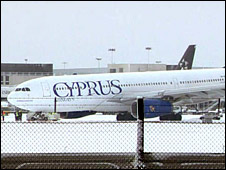 The Cyprus Airways plane
