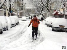 A skier in Pimlico, central London
