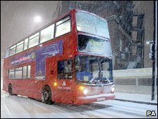 London bus in snow