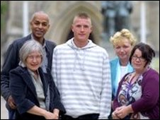 Sean Crannage, victim Pauline Frost (left) and support workers