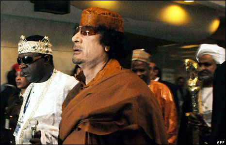 Col Gadaffi arriving at the African Union summit on 1 February 2009