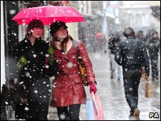 Shoppers brave the snow in York city centre.