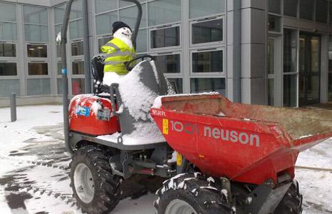 Snowman on dumper