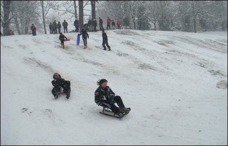Sean James Cameron found sledding and snow boarding when he went to Crystal Palace in the afternoon.