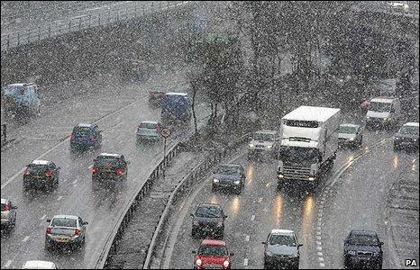 Motorway during snow shower