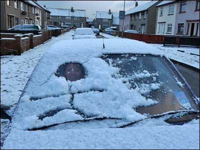 Ed Mason's wife made the mistake of asking him to clear the snow from the windscreen of her car in Kilwinning, Ayrshire.