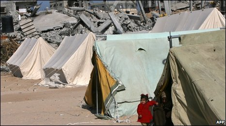 A temporary shelter in Jabalia, 31 January