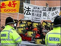 Manifestación en Universidad de Cambridge, Inglaterra