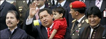 Daniel Ortega, Hugo Ch�vez y Evo Morales