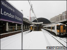 Snow at London Victoria
