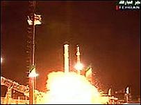 Imágenes televisivas del lanzamiento del satélite