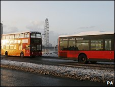 Buses crossing Waterloo Bridge