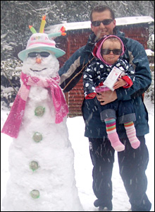 Andrew and Caitlin Charles and Emma the snow woman