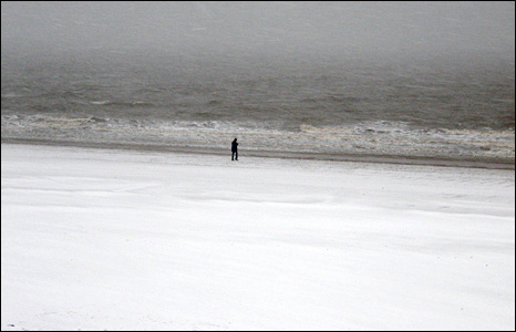 Swansea seafront covered in snow