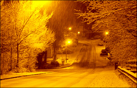 Streelamps light up the snow in Taffs Well