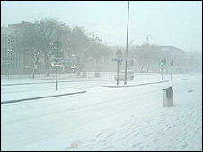 Kingsway, Swansea, in the snow