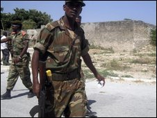 File pic of Ethiopian soldiers outside their base in Mogadishu in January 2009