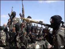 Al-Shabab fighters outside Mogadishu in December 2008