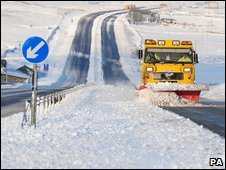 A snow plough on the A66
