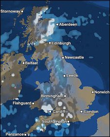 UK Weather map 1300, 3 February 2009