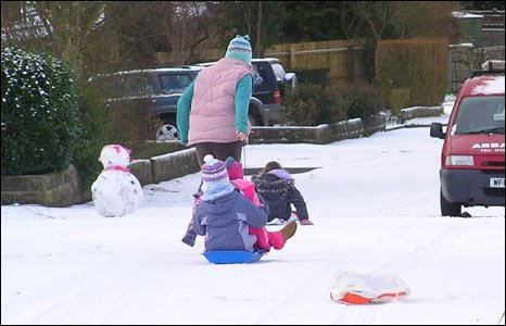 Children sledging in Broadmayne, Dorset - pic Gillian Thomas