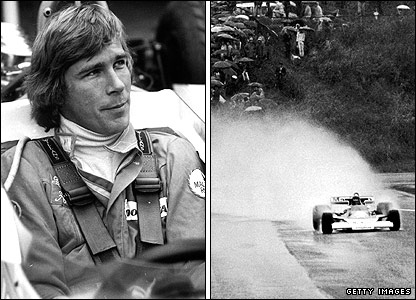 James Hunt (left) and in action during the season-ending Japanese Grand Prix in 1976