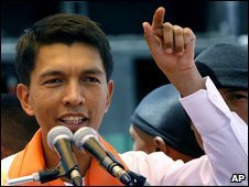 Andry Rajoelina at a rally in Antananarivo, 2 Feb
