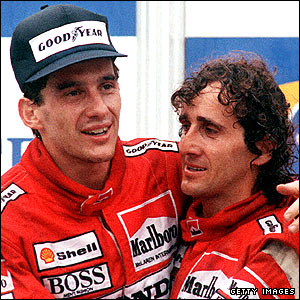 Ayrton Senna (left) with McLaren team-mate Alain Prost