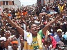 Supporters of Andry Rajoelina gathered in Antananarivo