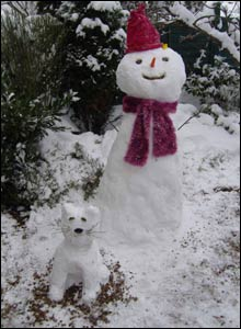 A snowman with a snow dog made by Holly and Josh Noke