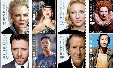 Nicole Kidman, Russell Crowe, Cate Blanchett and Geoffrey Rush on their stamps.