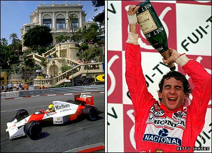 Aryton Senna on his way to victory in the 1989 Monaco GP and celebrating another win in 1990