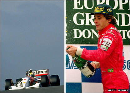 Ayrton Senna in action in the 1993 European GP and (right) celebrating his win
