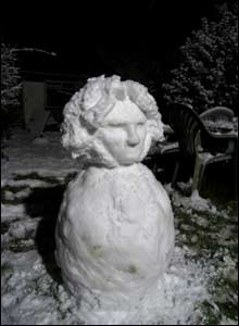 Beethoven the snowman. Photo: Claudette Tinsley