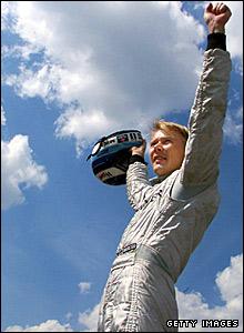 Mika Hakkinen celebrates in 1999