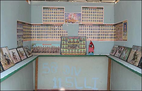 Photos in the bunker of dead Tamil Tiger members