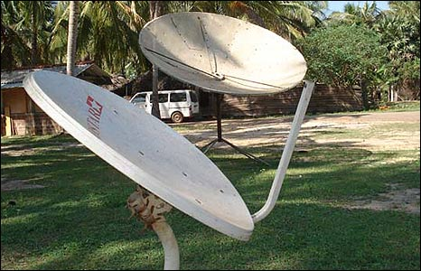 Satellite dishes outside the rebel complex