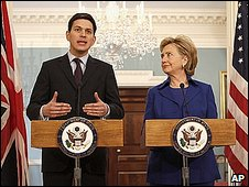 Foreign Secretary David Milliband and US Secretary of State Hillary Clinton