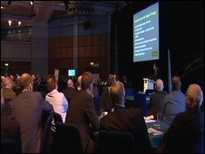 Business leaders at the International Convention Centre meeting in Birmingham