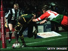 Australia's Wendell Sailor scores the second try against Wales during their 2000 World Cup semi-final