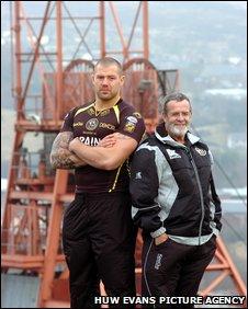 Crusaders player Jordan James and coach John Dixon