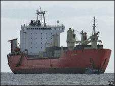 A ship suspected of smuggling weapons to Hamas in Gaza is anchored off Limassol