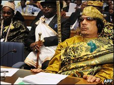 Muammar Gaddafi at opening of the AU summit in Addis Ababa, 3 February 2009